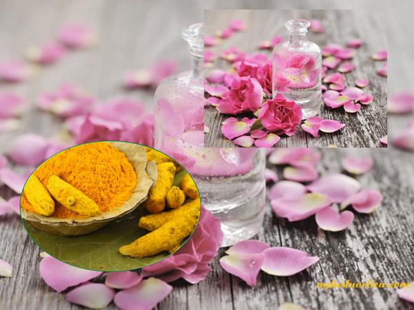 Chăm sóc da khô bằng tinh bột nghệ đắp mặt với nước hoa hồng và sữa đặc